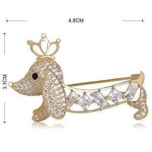 Jewelry - Gold Crystals Glamour Dog Brooch